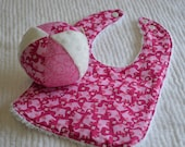 SET: Infant Pink ELEPHANT Chenille Baby Bib 3 and Cloth Ball Toy