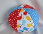 mini BIRDS Cloth Jingle Ball Baby Toy with Anne Kelle's Urban Zoologie fabric