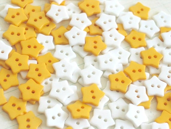 Clearance sale 124 x star craft buttons yellow and white for Craft buttons for sale