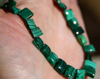 "Natural Green Malachite Smooth Square Briolette Focal Set of 24 Beads 7"" strand"