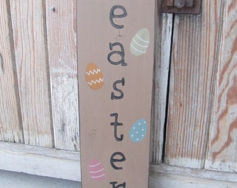 Primitive Easter or Spring Wood Sign with Easter Eggs GCC06140