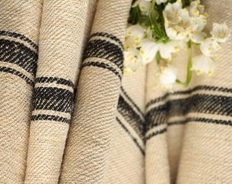 R 39 antique hemp linen tarest BLACK upholstery EASTER tablerunner 5.465 yards french lin benchcushion Beachhouse look