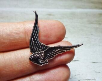SALE - Black Wings Stud Earrings