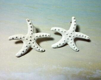 Starfish Stud Earrings - White