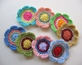 Ready To Ship - Crochet Flower Appliques -  8 Crocheted Flower Embellishments - Crochet Flowers For Crafting