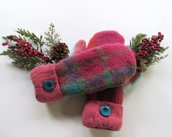 Felted Wool Mittens - Fleece Lined Wool Mittens - Pink Plaid Wool Mittens - Recycled Wool Mittens - Upcycled Wool Sweaters - Repurposed Wool