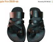 10% OFF Black Bath Leather Sandals for Men & Women - Handmade Sandals, Jesus Sandals, Leather Flip Flops, Unisex Sandals, Black Leather Sand