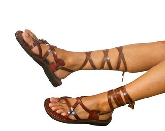 15% OFF Brown DECOR Gladiator Leather Sandals for Men & Women (Triple Design)