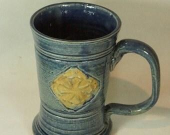 Crusader Mug 12oz  in blue Sale Handmade Pottery