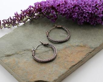 Viking knit Hoop earrings - Antiqued Copper wire hoop earrings
