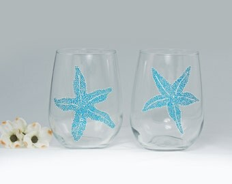 Starfish wine glasses - Set of 2 hand painted stemless glasses - Sea Glass Collection