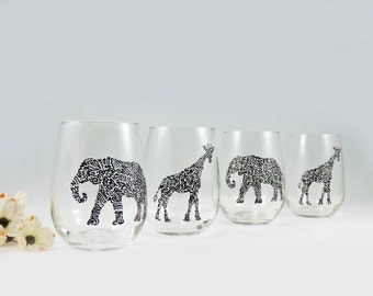 Elephant and Giraffe wine glasses - Hand painted stemless white wine glasses - Set of 4 - Safari Collection