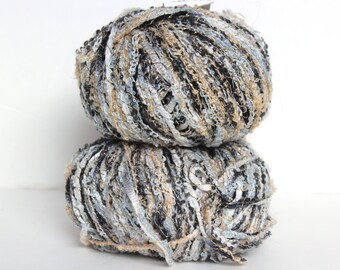 NY Yarns Twinkle Yarn in Color 48 - Metallic Black, Gold, Silver, and Tan