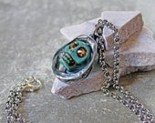 Turquoise sugar skull jewelry, Halloween jewelry, skull necklace, spooky jewelry, sexy halloween necklace