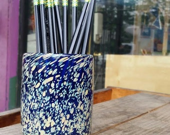 """Dark Blue Pen Cup with Tan Spotting, Blown Glass Decorative Pencil Holder, 4"""" Tall Desk Accessory, By Avalon Glassworks"""