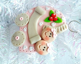 Personalized Baby's First Christmas Ornament - Twins First Christmas - Baby Shower Gift - Twin Girls - Polymer Clay Baby Ornament - 9252