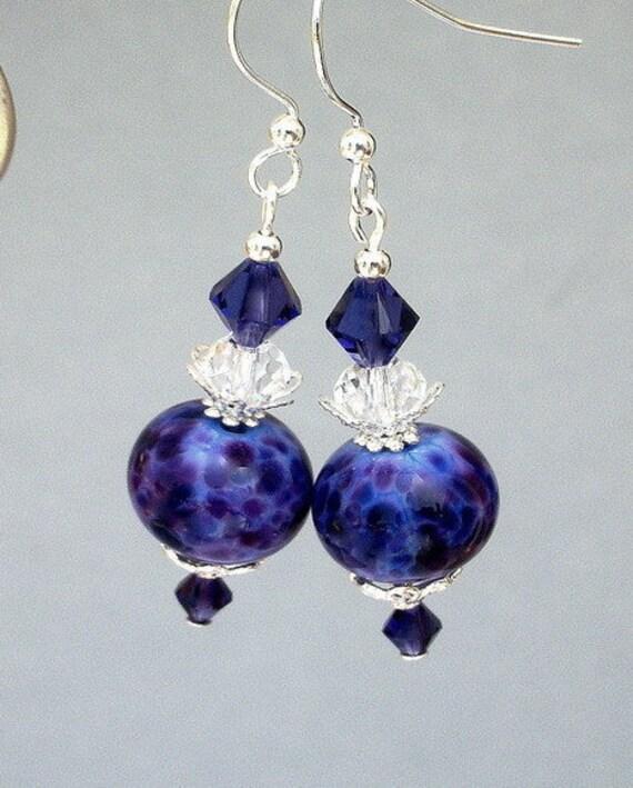 Deep purple earrings, violet artisan lampwork glass, purple velvet Swarovski crystal