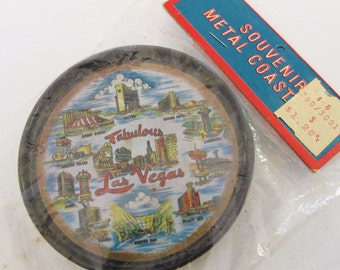 Vintage Las Vegas Souvenir Coasters Metal Set of 8 NOS New in Box Road Trip Momento Nevada Vacation Collectible Bar Ware Barwar Black Tin