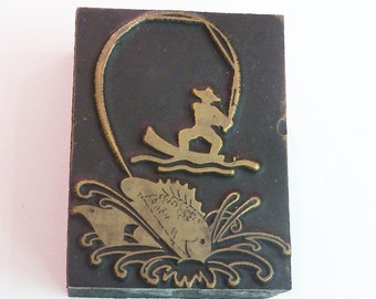 "Fish Fishing 1 3/4"" tall Antique Vintage Letterpress Printing Block copper wood beautiful graphic"