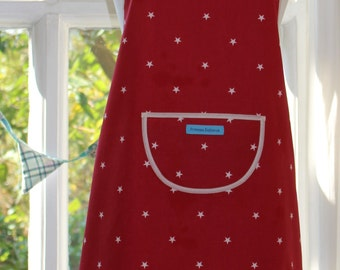 Little Stars - Cream Edged, Red Fabric with White Stars Print Apron.  Womens Full Apron