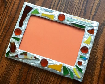 Maroon Green Recycled Glass Picture Frame (holds a 4 x 6 photograph)