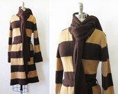 vintage brown striped cardigan, 80s long wrap sweater, belted knit sweater with scarf