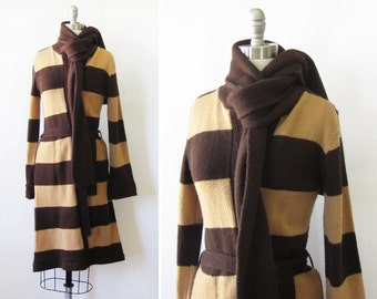 vintage sweater jacket, 80s brown striped cardigan, long wrap sweater, belted knit sweater with scarf