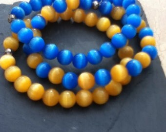 Blue and Yellow Bracelet Trio Stretchy Bracelet Set Boho Jewelry University of Michigan Colors Womens Gift