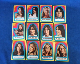Vintage 70's Charlie's Angels Trading Card Sticker Collection of 12 Sabrina, Kris and Kelly