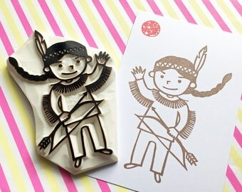native american boy stamp. warrior hand carved rubber stamp. children folktale stamp. diy birthday halloween baby shower gift wrapping. XL