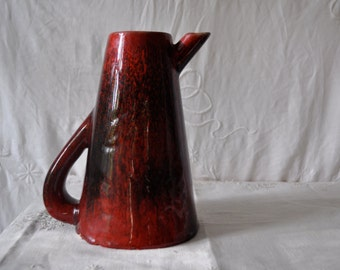 Stonelain Art Pottery Pitcher/Vintage 1950s/Arts and Crafts Stoneware Pitcher/Signed Seley