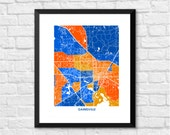 Gainesville Florida Art Map Print.  Color Options and Size Options Available.  Perfect for your University of Florida Gator.