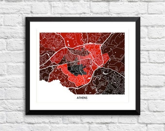 Athens Georgia Art Map. Choose Your Colors. Perfect for your University of Georgia Bulldog.