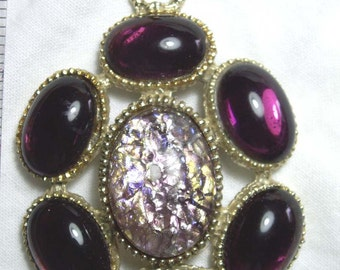 Large Purple Glass Cabochen Pendant with Gold Tone Chunky Rustic Necklace Jewelry