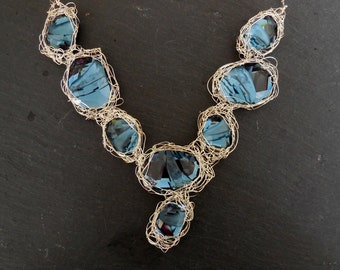 Silver Bib Necklace Divine Rock - Sterling Silver
