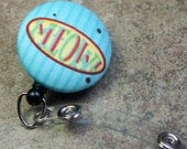 Name badge fabric covered badge reels MEOW design