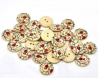 ON SALE Wooden button - Red flowers Pattern 2 Holes Wood Sewing Buttons Natural Color 18mm - set of 6  (BB110)