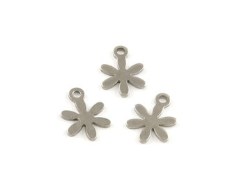 Flower charms stainless steel hypoallergenic charms 5pcs