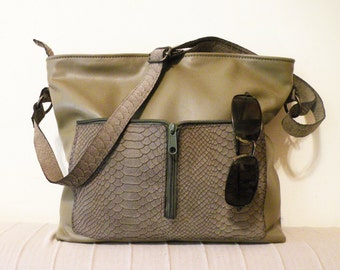 "handmade leather bag – lined leather tote - zipper olive bag with pockets - genuine leather crossbody bag - purse with pockets - ""CASSIA"""