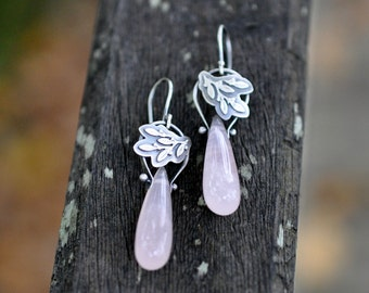 Sterling Rose Quartz Earrings, Sterling Silver Pinned Earrings, Gemstone Dangly Briolette Earrings - Verdure Earrings in Rose