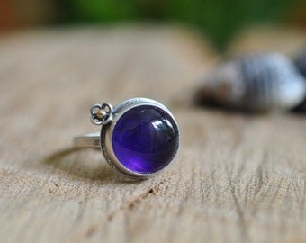 Sterling Turquoise Ring, Oxidised Sterling Silver Stacking Ring, Gemstone Metalwork Gold Ring - Forget Me Not Ring in Amethyst