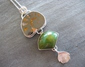 Necklace with Fossil Ammonite, Chrysoprase, and Sedum Leaf in Sterling Silver