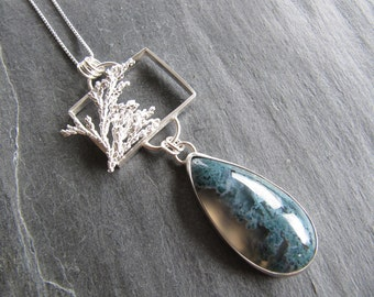 Pendant of Beautiful Moss Agate and Cast Cypress in Sterling Silver