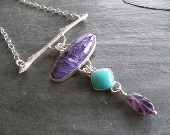 Pendant of Charoite, Amazonite, and Amethyst in Sterling Silver with Twig