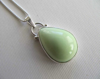 RESERVED  Citron Chrysoprase Necklace in Sterling Silver