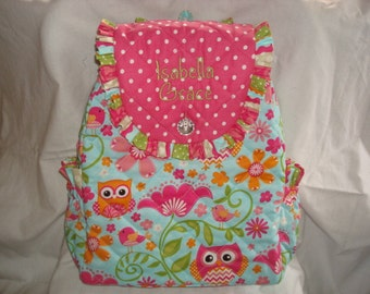 Child's Backpack in Cute Hoot with Coordinating accents.
