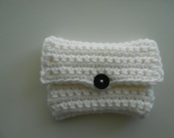 Crochet Coin Purse Money Holder White With Black Button Handmade