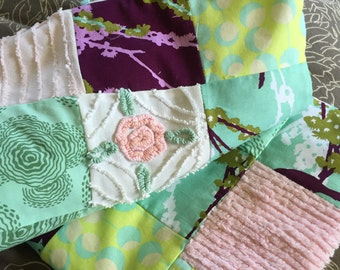 Beautiful Girls Baby Blanket with Vintage Chenille
