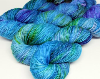 Hand Dyed Sock Yarn - SW Sock 80/20 - Superwash Merino Nylon - 400 yards  - Dunked - OOAK