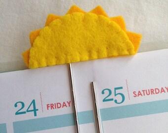 Felt Paperclip - Sunshine - Planner - Bookmark ~~ Erin Condren / Filofax / Kikki K